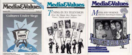 Covers from Media&Values magazine, published from 1977-1993 by editor Elizabeth Thoman